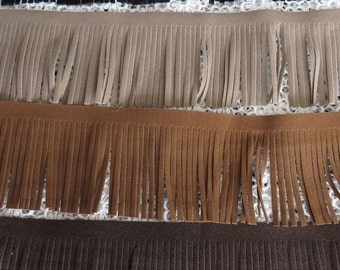 1 m of Suedette (faux suede) fringe trimming, 7cm width. Choose black, stone light brown or dark brown
