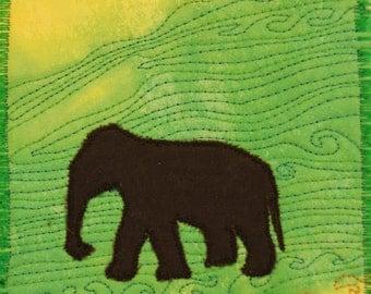 Fiber Art, Wall Hanging, Art Quilt, fiber art, Miniature, home decor, abstract quilt, wall art quilt, African art, elephant, elephant art