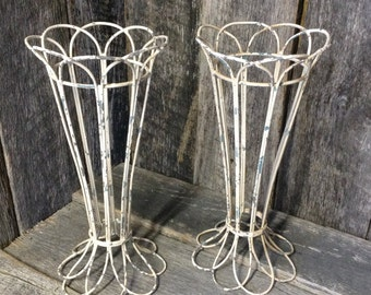 115 - Metal  Ornate - Wedding -Flower Holders  Set of 2 --Chippy White Paint -Outdoor Decor -Decorations