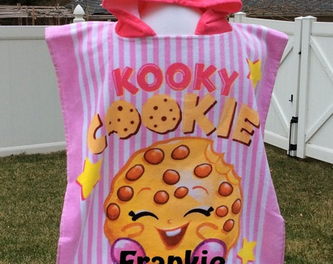 Shopaholic Shopkins Kooky Cookie Cotton Beach Towel Poncho Personalized