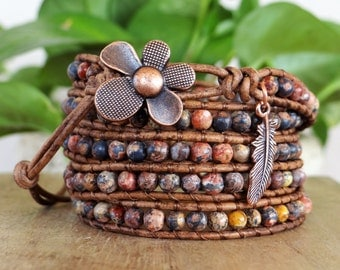 Gemstone Boho Wrap Bracelet With Leather Cord And Feather Charm.