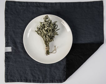 Set of 4 charcoal and black linen placemats. Reversible/double side linen placemats.