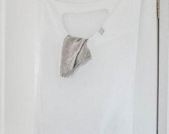 White hanging linen laundry bag