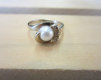 10k White Gold Cultured Pearl Ring, Pearl and Diamond Ring, June Birthstone