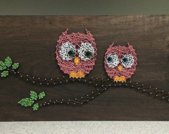 Owls on a Branch String Art Wood Sign-MADE TO ORDER