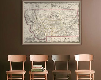 """Map of Montana 1889, Vintage Montana map, MN, in 4 sizes up to 48x36"""" Montana state map poster, also in blue - Limited Edition of 100"""