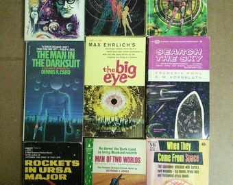 Lot of 9 Vintage Pulp Sci Fi 1950s and 1960s Books