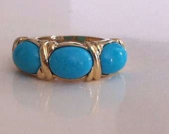 VintageTurquoise Ring in 14K Yellow Gold
