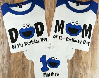 Personalized Cookie Monster Birthday Shirt Family Set 1st, 2nd , 3rd Birthday-  Vinyl Design