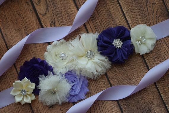 Sash,  Violet, Purple and ivory Sash , flower Belt, maternity sash
