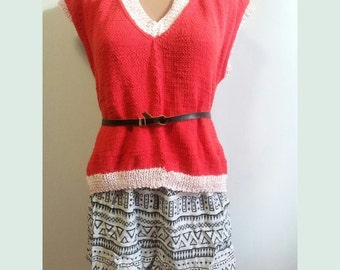 Knitted top, blouse, sweater, for her, cotton, coral, summer, openwork