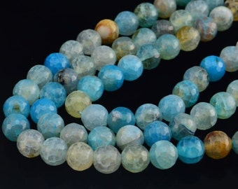 15INCH  Blue Dragon  Agate Gemstone Loose Beads 10MM Faceted Round