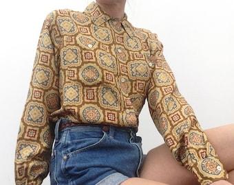 Vintage Jil Sander blouse 80s silk shirt baroque print