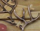 Copper color  antler charms 2 charms deer antler charms antler charms Tibetan antler bronze charms