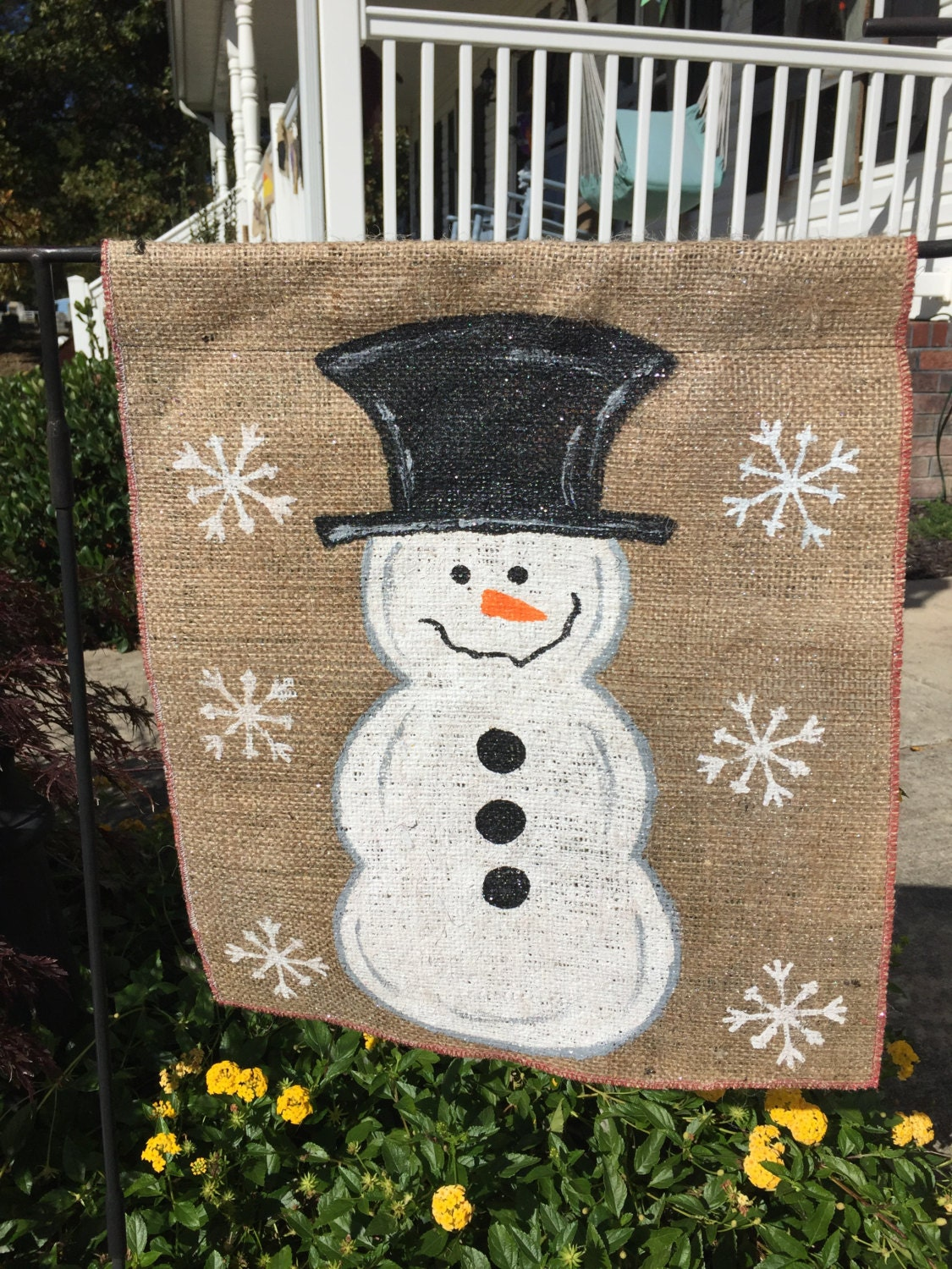 christmas decorations snowman burlap banner flag outdoor