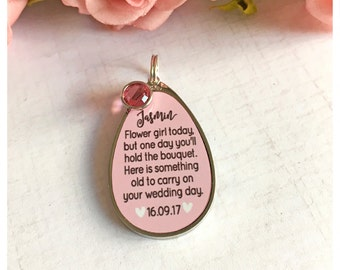 Flower girl/Bridesmaid charm with Swarovski crystal - personalised bouquet charm keepsake