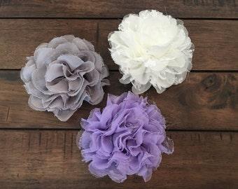 Ruffle Lace Tulle Flower Hair Clip, 6 inch Flower, little girls, women, Hair Clip, Bridal Hair, Flower Girl
