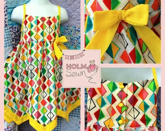 Handmade chevron hem dress - made to order in your fabric choice