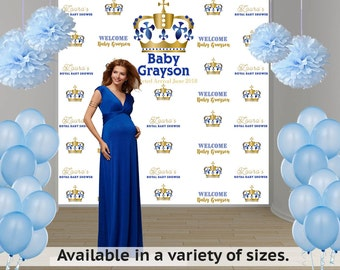 Royal Baby Shower Personalized Photo Backdrop - Welcome Little Prince Photo Backdrop- Royal Prince Photo Backdrop - Step and Repeat Backdrop