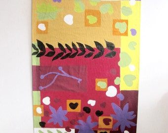painted canvas rug - purples and reds and greens and yellows - 45 x 27