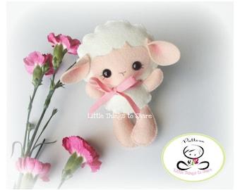 Baby Sheep-PDF pattern-Felt Lamb-DIY Project-Farm Animals-Nursery decor-Instant Download-Baby's mobile toy-Cute Sheep-Kids present
