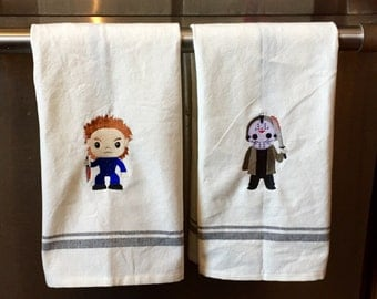 Michael Myers or Jason Embroidered or Pinhead or Freddy Dishtowel