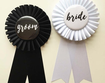 Bride and Groom Rosette Pins - Couple Shower - Wedding pin