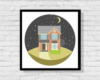 Custom Personalized Home Digital Illustration - Commission Drawing