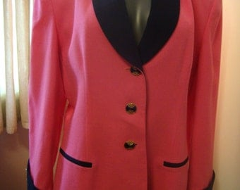 80's-90's Wool Blazer by Sara Roberts Powerful in Pink