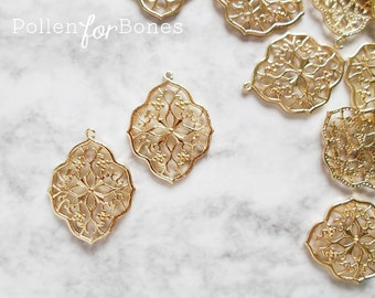 2pcs ∙ 24K Gold Moroccan Earring Floral Vintage Diamond Filigree Charm Damask Focal Pendant Jewelry Supplies