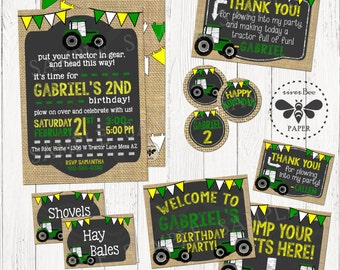Tractor Birthday Party Pack Printables, Digital Tractor Invitation, Treat Tags, Cupcake Toppers, Thank You Card, Welcome Sign and more