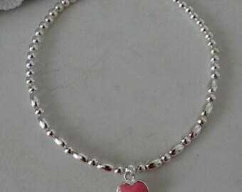 beautiful pink heart sterling silver stacking bracelet
