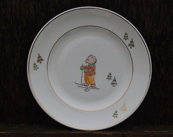 Riga Porcelain Factory Collectible Soviet Vintage Kids Plate, Soviet era 1950 s. Tableware