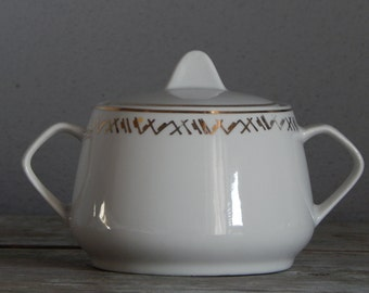 Soviet Vintage Porcelain Sugar Bowl, 1960-s. From RPR / USSR/ Retro Home Decor, White Sugar Bowl