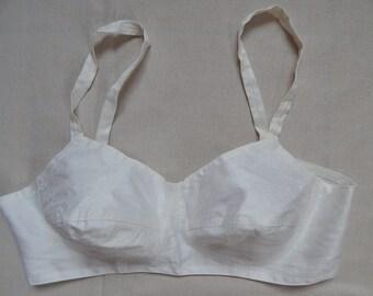 Brassiere Soviet -Time Vintage White Cotton Lingerie Ladies Bra White Cotton Bra Made in USSR  era 1980 s