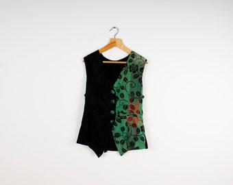 ON SALE Black Green Women Vest Light Button Up Vintage Vest Floral Romantic Pattern Vest
