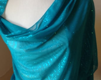 Turquoise Shawl, Turquoise Scarf, Shawl, Scarf, Glitter Scarf, Turquoise Glitter Scarf, Gift for Her, Gift , Summer, Spring, FREE SHIPPING