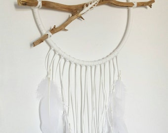 White Dream Catcher with Sliced Shell