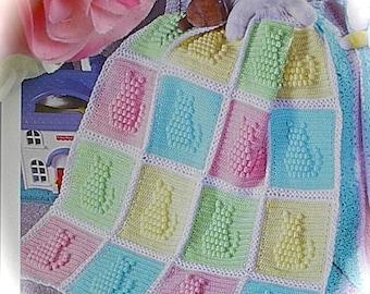Crochet PATTERN - Baby Afghan/Blanket - Kitty Cat Popcorn Design download