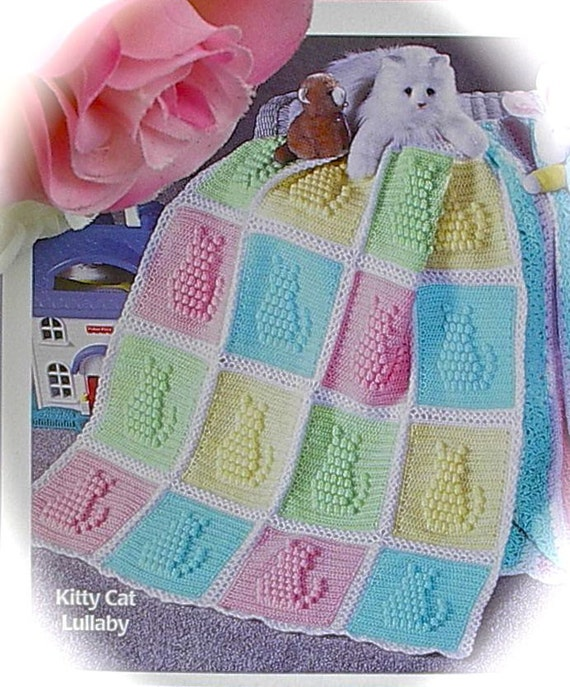 Crochet Cat Afghan Pattern : Crochet PATTERN Baby Afghan/Blanket Kitty Cat Popcorn