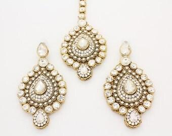 Handmade Vintage Gold Silver Kundan Art Indian Bollywood Large Chandelier Earrings & Matching Tikka Head Chain Matha Patti Bridal Wedding
