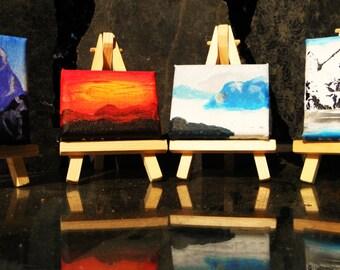Mountains  Original Art -- Mini Paintings. magnet set