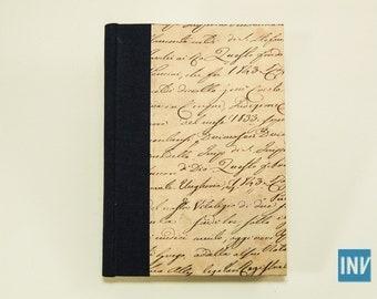 Notebook A6 – small notebook quarter bound in blue book cloth and decorative paper (scrittura)
