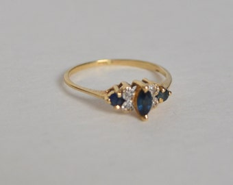 14K Marked Solid Gold Natural Genuine Blue Sapphire 4 Round Diamond Engagement Ring Size 6.5