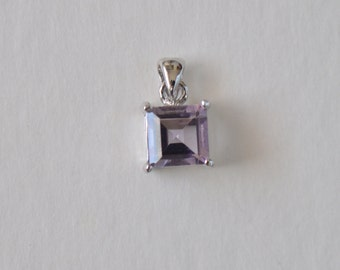 Sterling Silver 925 Natural Purple Amethyst Pendant for Necklace