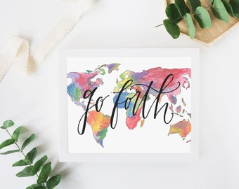 Calligraphy map etsy hand lettered watercolor world map print world map art print modern calligraphy go sciox Gallery