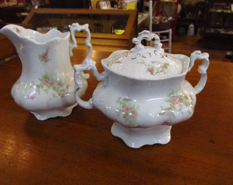Johnson Brothers Pink & Green Floral Creamer and Sugar Bowl