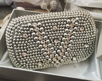 Silver Vintage Pearl & Crystal Clutch Bag Evening Bag Bridal Handbag