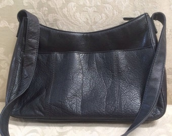 Vintage Rolfs Handbag, Rolfs Shoulder Bag, Black Shoulder Bag, Black Leather Purse, Rolfs Leather Purse, Rolfs, Black Leather Bag