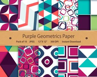 Digital Paper Purple Geometrics Digital Paper Pack 12x12 Digital Scrapbooking Papers Printable Geometric Digital Paper Digital Download